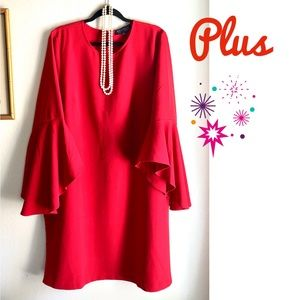Plus Eloquii Bell/Flutter Sleeve Shift Dress